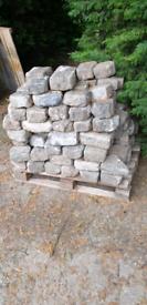 Reclaimed granite cobbles