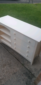 Wooden children's bookcase and drawers unit