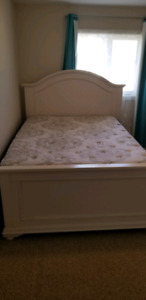 Queen bed (frame, mattress and box spring)