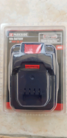 Parkside cordless 4Ah battery. Brand new/sealed