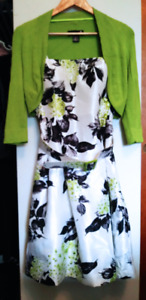 Laura Petites Belted Floral Print Dress with Bolero Size 6P