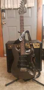 Marshall Amp & Fender Squire with Stand
