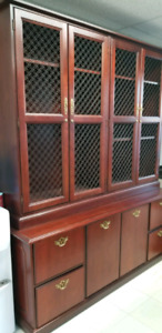 High end two piece solid wood credenza perfect as a buffet hutch