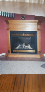 Gas fireplace and frame