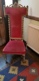 Decorative antique hall chair
