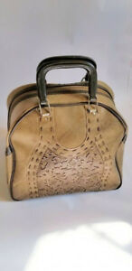 Vintage Hand Tooled Leather Bowling Ball Bag, Gym Bag, Handbag