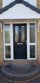 Black composite door & frame with side panels