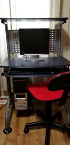 Computer desk, monitor, etc