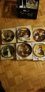 The Edwin M Knowles China co. Vintage Normand Rockwell plates