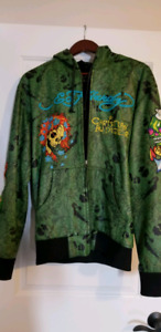 Leather and suede ed hardy hoodie
