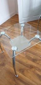 Modern Glass and Chrome side table