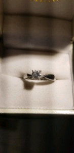 White gold diamond solitaire ring.