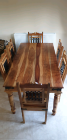 Jali sheesham dining table and 6 chairs