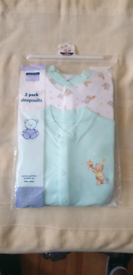 George Baby 2 Pack Sleep Suit 12-18 months New
