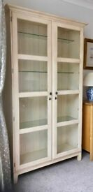 Cabinet, Ducal Sandpiper 'parchment' finish, full height lockable glass doors, interior lighting