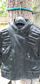 Ladies Ashman Black Leather Motorcycle Jacket. Size 10 / 12