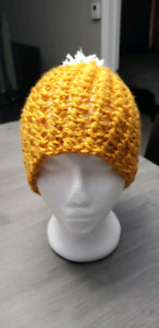 Hand crocheted golden rod color puff stitched toque.