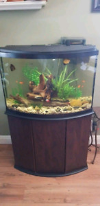 48 bow front fish tank and stand ect