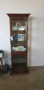 Glass and walnut solid wood cabinet