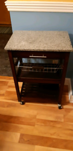 Kitchen cart with granite counter top