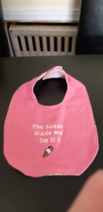 Embroidered baby bibs girl reversible set of 3