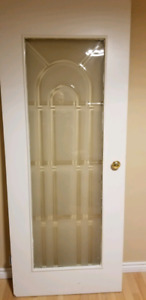 2 pcs Etched 32 inch glass door with knobs and hinges
