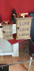 Wooden lanterns shabby chic style wood 1 large and one smaller