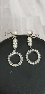 Vintage Grey Pearl With Crystal Roundelle Clip Earrings.
