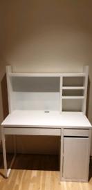 IKEA Micke desk with top shelf, white 105x50 cm
