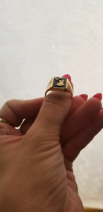 Mens Gold Initial Ring 10k