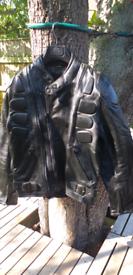 Black Leather Motorcycle Jacket. Size 40.