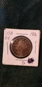 COINS US PENNY 1936,5CENTS US 1904,US PENNY, OLD 2$ US &CDBILLS,