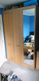 Beech triple wardrobe and drawers unit, storage, mirror