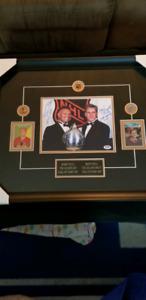 Hockey Bobby & Brett Hull Duel auto custom framed picture W/COA