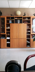 Glass and solid wood credenza shelf