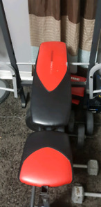 Bench w/ barbell and weights.