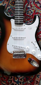 electric guitar,squier by fender, and amp