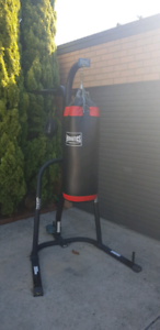 Boxing bag and stand with focus ball.