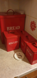 Red kitchen canister set