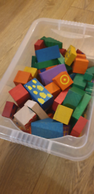 Wooden playing blocks