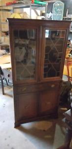 antique  oak corner cabinet