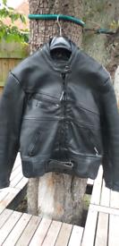 Ladies Rhino Black Leather Motorcycle Jacket. Size 14 /16