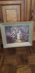 "Beautiful vintage framed oil painting 14 "" by 12"" inside"