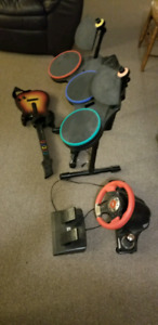 Steering wheel with pedals, guitar hero drums, guitar,microphone