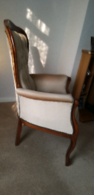 Quality hardwood and velour chair