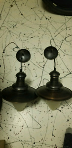 2 hanging light fixtures ideal for island