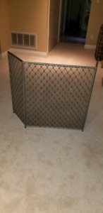 Silver fireplace screen