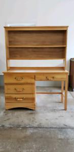 For Sale Wooden 4 Draw Desk & Shelving Unit.