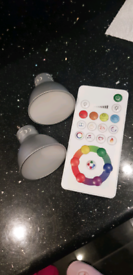 Multi changing colour Gu10 x2 bulbs