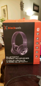 Black web Bluetooth headphones. Great for gaming & music.